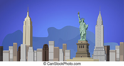 Background illustration with New York City skyline and Liberty Statue