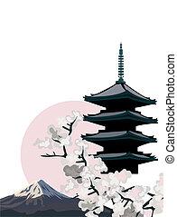 Pagoda Temple - Background illustration with Pagoda Temple ...