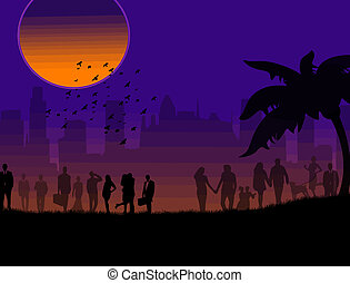 silhouette of a loving couples - Background illustration...