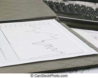 background image of a business graph on a table.close up