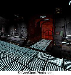 background image of a dark corridor onboard a spaceship.