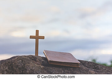 Background image of cross, Easter Sunday concept.