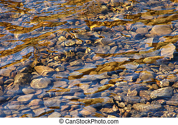 Background image of some smooth stones in a river