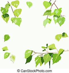 Background image with birch leaves