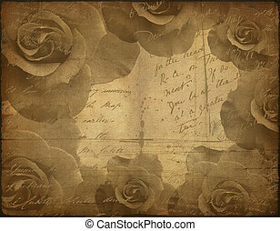 old paper texture, roses