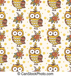 Seamless pattern with owls.