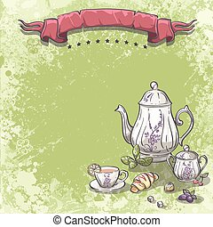 Background image with tea service with tea leaves,...