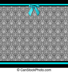 Background in fancy black and white patterns and aqua blue ribbon borders