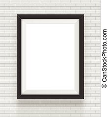 square black frame on the brick wall background.