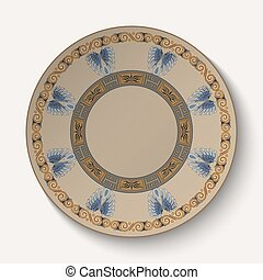Background in the form of plate with an ornament in the ancient Greek style.