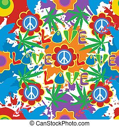 Background in the style of 60x. Psychedelic seamless pattern. Hippie, cannabis leaves, flowers, a symbol of pacifism.