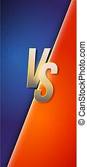 Background in Versus style for fight or competition. Gold letters VS on contrast colors. Vector background in comics book style for smartphones X sizes. Phone UI