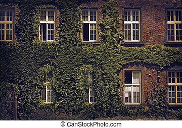 facade of an old brick house