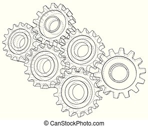 Background industrial design gears. Conceptual 3d wire-frame illustration.