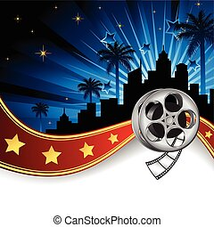 Vector illustration inspired by film industry, with film reel, ribbon with stars, palm trees and silhouette of a city.