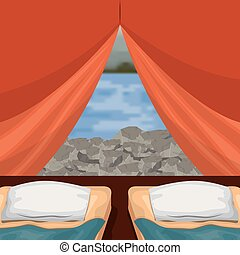 background interior camping tent with double pad and blur river scenary outside