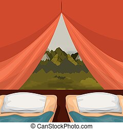 background interior camping tent with double pad and landscape scenary outside