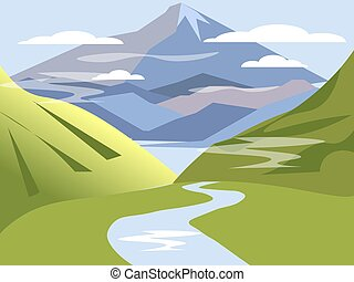 Background, landscape. Valley of hills with river and ...