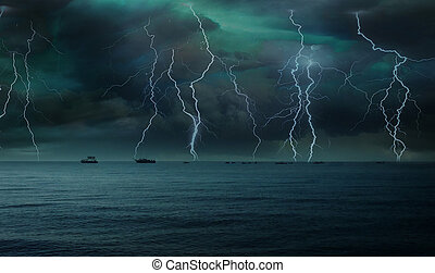 lightning in the sky over the sea