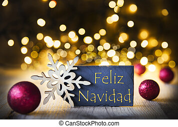 Background, Lights, Feliz Navidad Means Merry Christmas -...