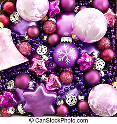 Background made from colorful christmas ornaments