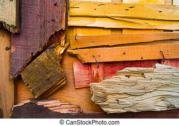 Background made from different colorful damaged wooden planks