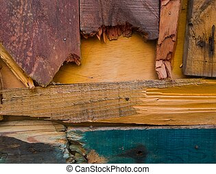 Background made from different colourful damaged wooden planks