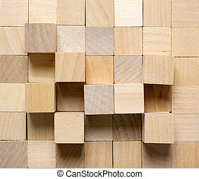 Background made from different wooden cubes