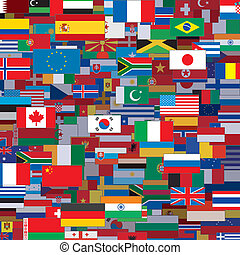 Background Made from World Flags. Vector Template