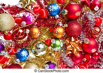 christmas balls and tinsel - background made of christmas...