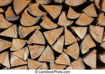 background made of cumulate firewood close up