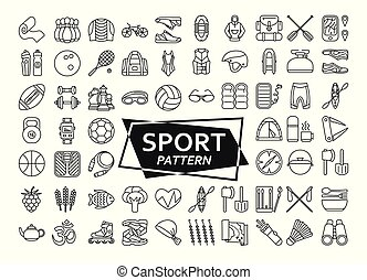 Background made of line icons. Sport, fitness and recreation...