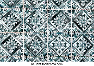 Background made of traditional Portuguese ceramic tiles called azulejos