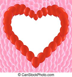 Background made of Red balloons in a heart shape
