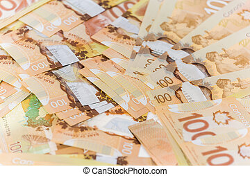 Canadian banknotes - Background made up of Canadian...
