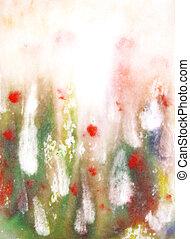 background:, malować, abstrakcyjny, ręka, wzory, zielony, kwiatowy, pociągnięty, czerwony