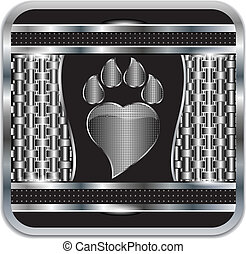 Background metal Paw print love