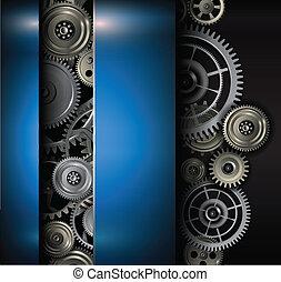 Background metallic gears and cogwheels, technology vector...