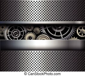 Background metallic gears, vector shiny metal grid design.