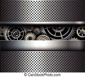 Background metallic gears, vector shiny metal grid design.