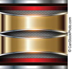 Background metallic gold and silver, vector.