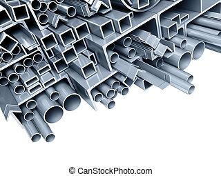 background metallic pipes, corners, types