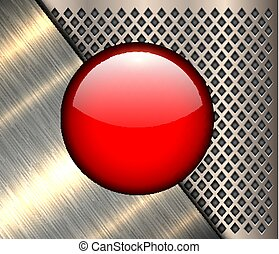 Background metallic with red button
