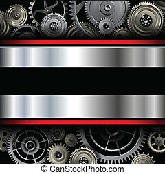 Background metallic with technology gears, vector ...