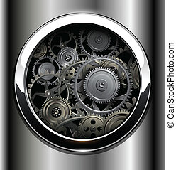Background metallic with technology gears, vector.