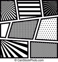 background monochrome abstract in pop art with radial lines