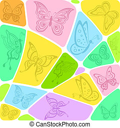 Background mosaic with butterflies