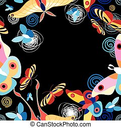 background multicolored butterflies