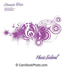 abstract musical composition on a white background with space for text, vector illustration