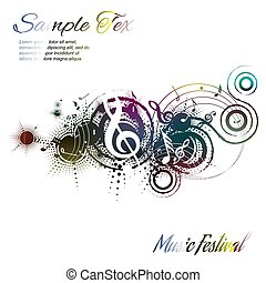 Music background abstract composition on white with place for text, vector illustration